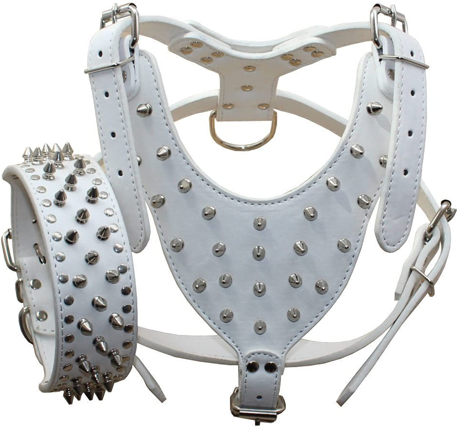 Avenpets American Pit Bull Terrier Leather Harness and Collar Set for Walking and Training with Adjustable Straps,White,XL