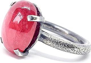 Prezioso anello con preziosa Rodocrosite da 9,45 carati misura 9 mm X 14 mm X 6 mm, realizzato interamente a mano in argen...