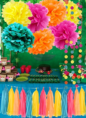 Moana Color Party Supplies Moana Theme Birthday Decorations/ Teal Orange Yellow Fuchsia Tissue Paper Pom Pom Tassel Garland Tropical Party Decorations/Hawaiiian Luau Party Supplies