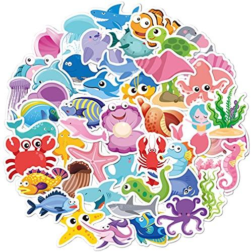 Pegatinas de animales marinos graffiti de dibujos animados pegatinas de maleta impermeable regalo de cumpleaños para niños pegatinas de taza de agua