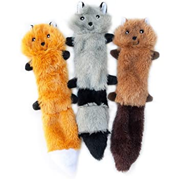 ZippyPaws - Skinny Peltz No Stuffing Squeaky Plush Dog Toy, Fox, Raccoon, and Squirrel - Small