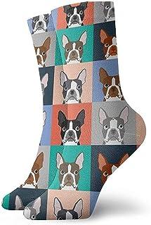 Dydan Tne, Niños Niñas Locos Divertidos Boston Terriers Azulejos Bulldog Perro Conjunto Patrón Calcetines Lindos del Vestido de la Novedad