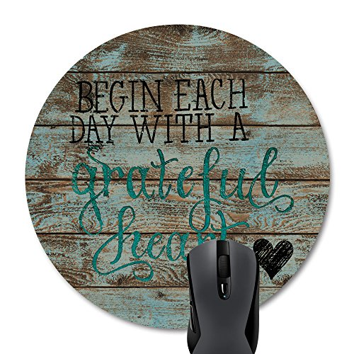Wknoon Round Mouse Pad Inspirational Quotes Begin Each Day with A Grateful Heart, Bible Verse Scripture Quote On Rustic Old Wood Design Mouse Pads Mat