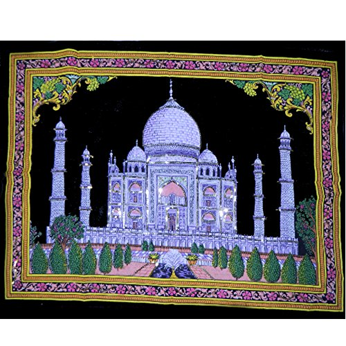 Wandbild Taj Mahal 107x78cm indisches Baumwollbild handbemalt Tadsch Mahal Indien