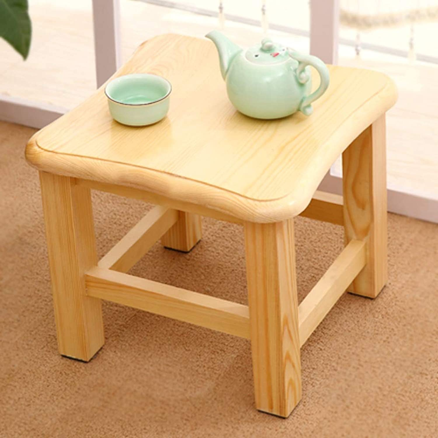 BBG Fashion Creative Small Furniture Anti-Slip Stool Simple Modern Pure Solid Wood Small Square Stool Short shoes Bench Multi-Function Coffee Table Stool Multifunction Household Creative
