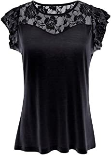 SMALLE Women's Casual Solid Patchwork Short Sleeve Lace Rose T-Shirt Tops Blouse