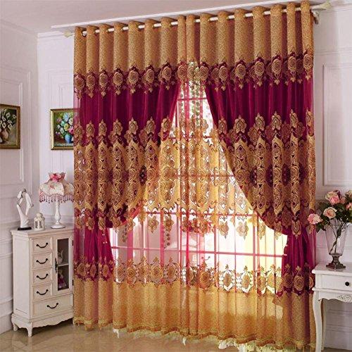 NACHEN Rideaux de fenêtre d'obscurcissement avec Le Tulle pour Le Salon Chambre Broderie Double fenêtre Rideaux, Red, W200*H270CM