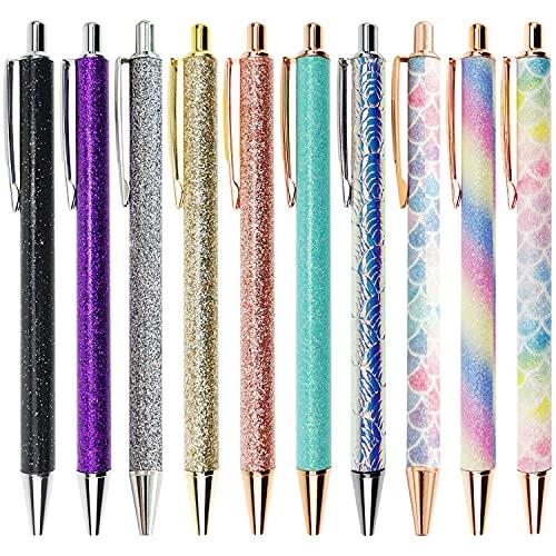Oddmoal Cute Ballpoint Pen Sets, Sparkly Click Metal Pens, Fancy Retractable Pen for Women & School, Black Ink, 10 Count