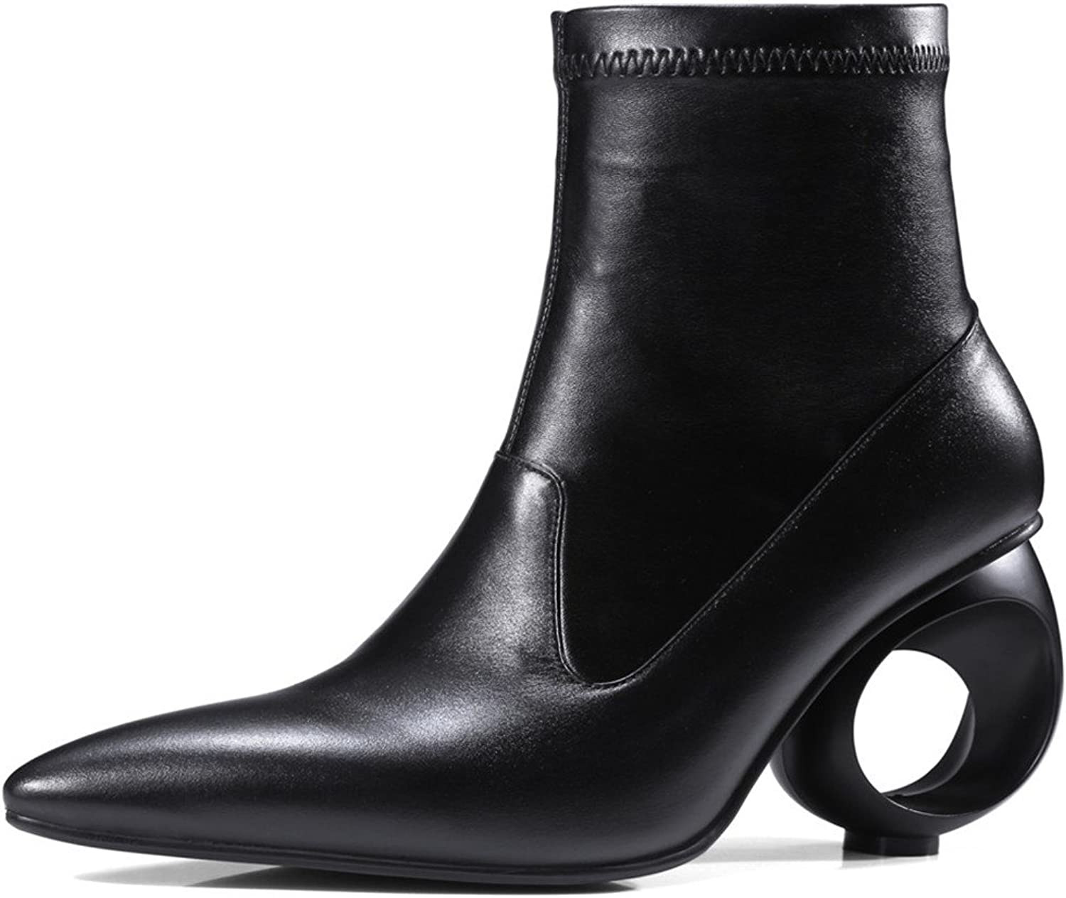 Nine Seven Genuine Leather Women's Pointed Toe Fashion Exquisite Heel Handmade Well Designed Ankle Boots