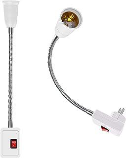 2 Piezas Adaptador De Enchufe E27 con Interruptor, Lamparas Enchufe de EU bombillas Convertidor Adaptador, 360° dirección Ajustable de Enchufes, Adaptador de Extensión E27 Base Lámpara