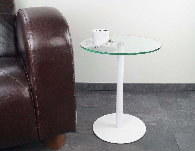 Beistelltisch   Couchtisch   Glastisch   rund  Johanna  in Wei-matt, 40 x H.50cm