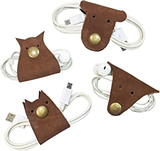 Furry Friends 4-Pack Cord Keeper (Cord Clam) Handmade by Hide and Drink :: Swayze Suede