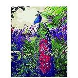 Joilkmgg Pintar por Numeros Pavo Real Animal Flor Pintar por Numeros Kits Adultos Niños Pintura por Numeros con Pinceles Lienzo y Pinturas Acrilicas 40X50cm Sin Marco