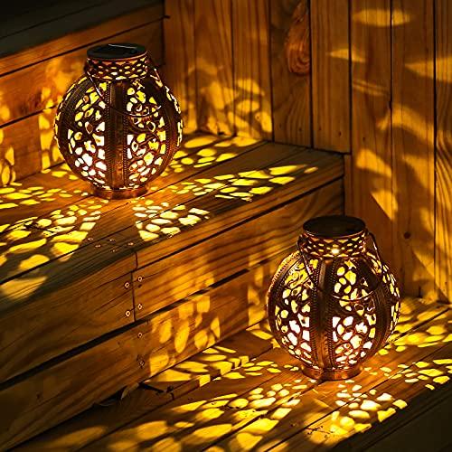 Solar Lanterns Outdoor-Solar Lanterns Outdoor Waterproof-Solar Lanterns Outdoor Hanging-Patio Decorations 2 Pack