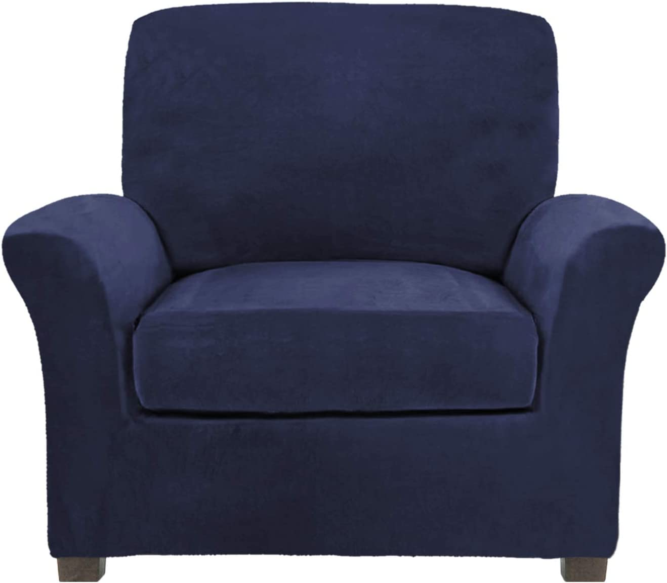 FY FIBER HOUSE Rich Velvet Stretch 2 Piece Chair Cover Chair Slipcover Sofa Cover Furniture Protector Couch Soft with Elastic Bottom Chair Couch Cover with Arms, Machine Washable Navy
