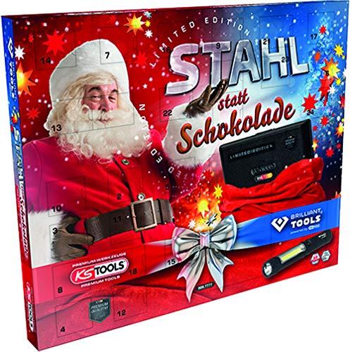 KS Tools 999.7777 Adventskalender Stahl statt Schokolade Limited Edition 2020, bestehend Steckschlüssel-Satz 48-TLG. und Brilliant Tools LED Stift-Lampe (140 Lumen)