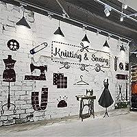 3D壁紙レトロなレンガの壁の衣料品店の背景の壁画リビングルームのベッドルームクリエイティブアート壁画3D-300cm(W)x250cm(H)