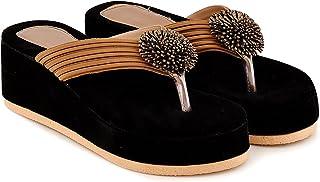 Evrim women's velvet wedge sandal (Brown)
