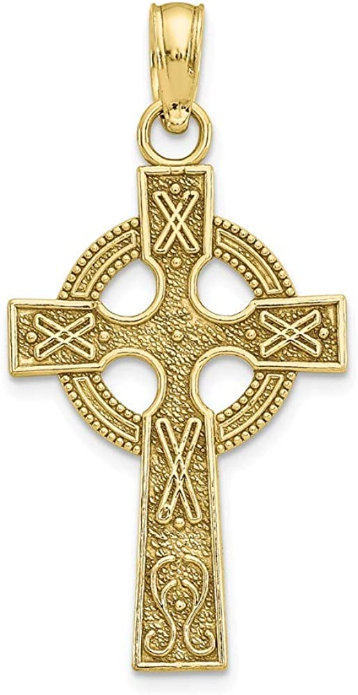 Solid 10k Yellow Gold Celtic Knot Irish Claddagh Cross Eternity Circle Pendant Charm