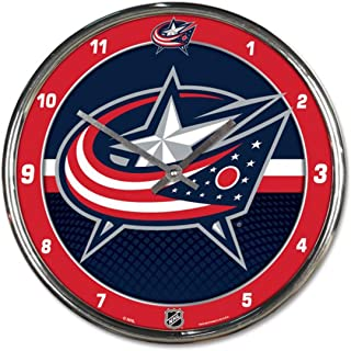 334536883 Wincraft Columbus Blue Jackets 12 inch Round Wall Clock Chrome Plated