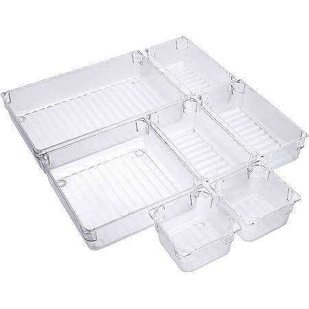 Organiseurs de Tiroir 4 Tailles Réutilisable Transparent Cosmétique Plateaux de Rangement en Plastique pour Les Cuisines Bureaux Chambres 7Pcs