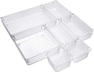 Organiseurs de Tiroir 4 Tailles Réutilisable Transparent Cosmétique Plateaux de Rangement en Plastique pour Les Cuisines B...