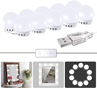 Vanity Mirror Lights,ANGFLY 2018 Upgraded 2 Color Lighting Modes with 10 Dimmable Light Bulbs,Hollywood Style Lighting Fixture Strip for Makeup Vanity Table Set in Dressing Room (Mirror Not Include)