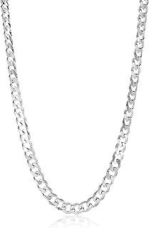 قلادة رجالية من الفضة الاسترلينية عيار 7.5 مم مصقولة وعالية عيار 925 + قطعة قماش وحقيبة مجوهرات