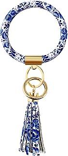 دستبند حلقه کلید Diriway مچبند Keychain Bangle Keyring Large Circle Leather Tassel Bracelet Holder For Women