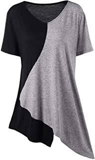 DADKA Fashion Womens Shirt Plus Size Pullover T-Shirt Trim Asymmetrical Color Block Tops Blouse