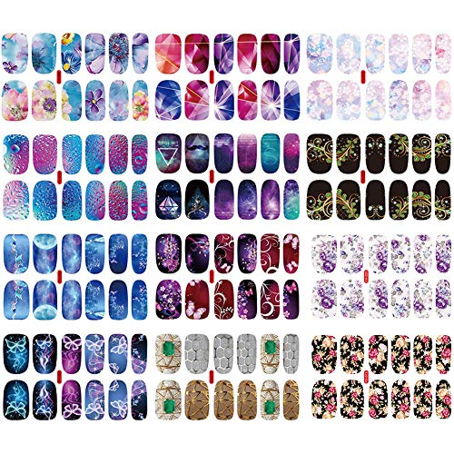 12 Blatt Nagelaufkleber Nagelsticker,MZSM Nagelkunst Sticker,Selbstklebende Nagelfolie, Design Selbstklebende Maniküre Sticker Schöne Mode DIY Dekoration
