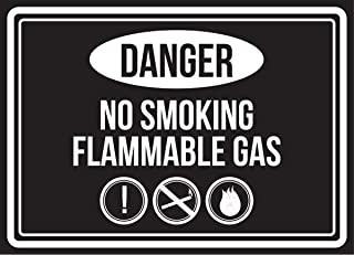 Danger No Smoking Flammable Gas Black & White Business Commercial Safety Warning Small Sign, Plastic, 7.5x10.5 Inch