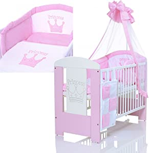 Baby Cot PRINCESS 120x60 maden wood incl  foam mattress and pieces bedding complete set