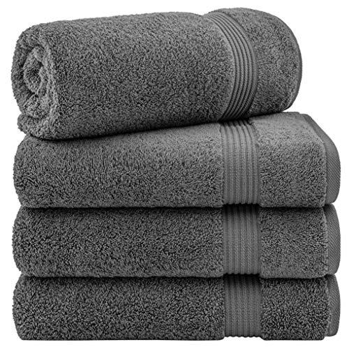 United Home Textile - Juego de toallas de baño (100% algodón turco, absorbente, suave, decorativas, 4 piezas), color gris