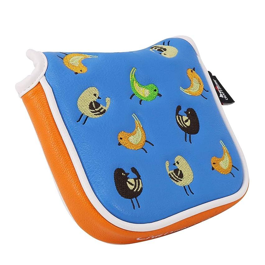 対立慎重にいわゆるCRAFTSMAN(クラフトマン)ゴルフクラブヘッドカバー ウッドカバー セット パターカバー スクエア型 ピンタイプ対応 小鳥刺繍シリーズ 合成皮革製 ライトブルー オレンジ