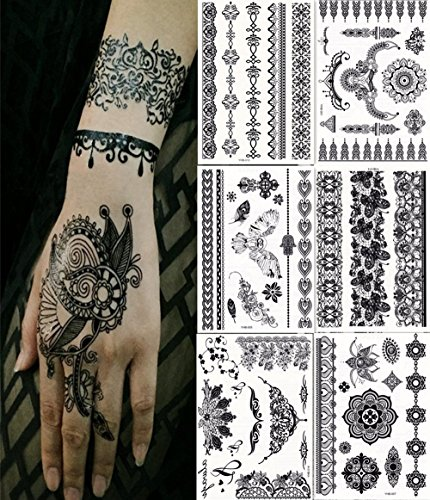 Bbei 6 Sheets Henna Body Paints Temporary Tattoos Stickers Blacklace Tattoo for Girls, Women...