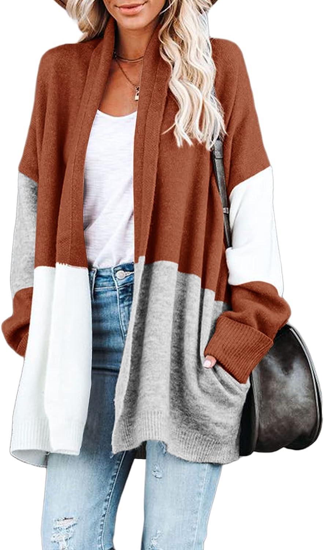 Tutorutor Womens Color Block Striped Batwing Sleeve Kimono Cardigans Long Sleeve Open Front Casual Knit Sweaters Coat Outwear