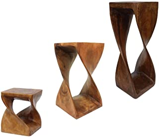 Blumenständer Holz Tisch Massivholz Blumentisch Säule Podest Beistelltisch Suar