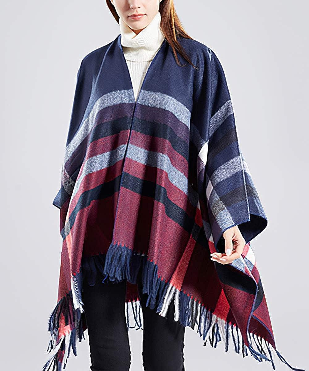 nappa mantello aperto sul davanti Scialle tartan da donna Carcos autunno inverno coperta scialle lungo e morbido cardigan poncho