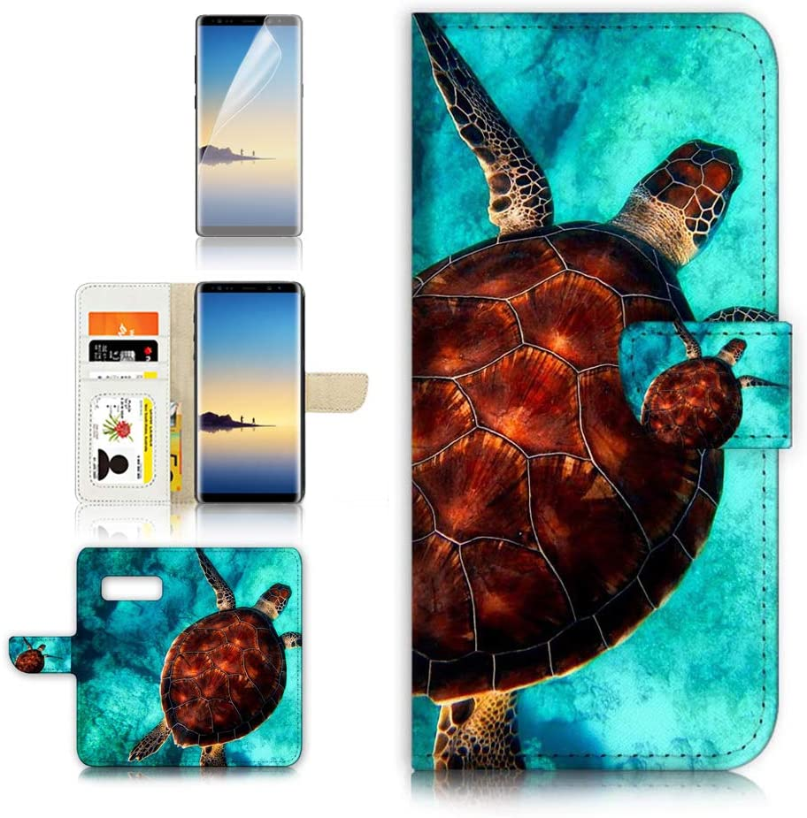 (for Samsung S10+ / Galaxy S10 Plus) Flip Wallet Case Cover & Screen Protector Bundle - A21665 Turtle in Sea