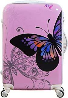 White ABS Suitcase Cartoon Colorful Butterfly Pattern Carry On With Universal Wheels 24 in Lockable Luggage Case (Pink, 24in)