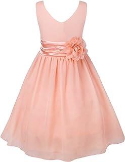 95262b71ee224 IEFIEL Robe Cérémonie Princesse Mousseline de Soie V Cou Broche Fleur Fille  Bébé Robe Fête d