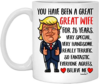 Happy 26th Anniversary Wedding Gifts For Her, 26 Year Married Celebration Present for Wife Coffee Mug Funny White 11oz