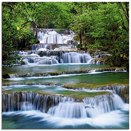 Artland Glasbilder Wandbild Glas Bild einteilig 30x30 cm Quadratisch Natur Landschaft Wasserfall Wald Thailand Dschungel Fluss Sommer T5NK