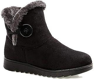 Mujer Botas de Nieve Calientes Piel Forradas Botines Invierno Zapatos Botas de Trabajo Planas Outdoor Ante Antideslizante ...
