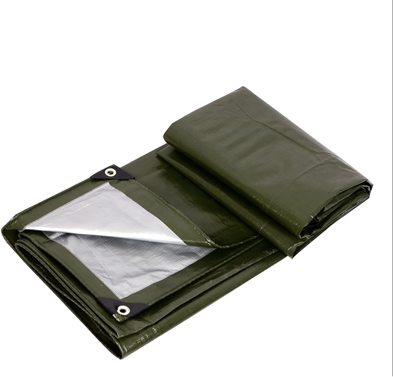 LQQGXL Army Green Silver Tarpaulin, Outdoor Awning Tarpaulin Tarpaulin, dustproof, Windproof, Antifreeze, Easy to fold Waterproof Tarpaulin