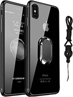 iPhone Xs Max Case,Clear Ultra Slim Soft TPU Cover Case with Electroplated Frame Finger Grip Rotating Ring Holder Stand [Work with Magnetic Car Mount]+ Detachable Neck Lanyard for iPhone Xs Max -Black