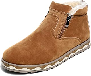BOZEVON Men's Winter Boots - Retro Style Plush Thicken Linded Warm Shoes Snow Boots