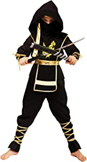 Ninja Costume for Boys Kids Black Red Halloween Samurai Ninja Suit Outfit 4-6 6-8