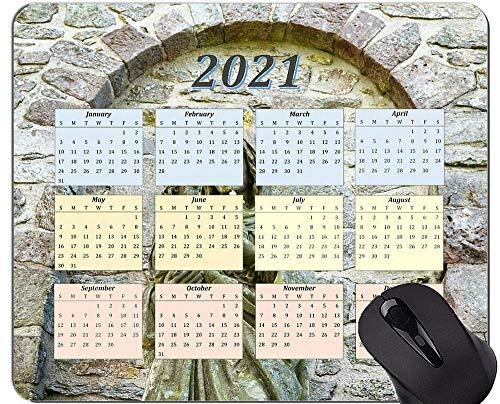 Yanteng Alfombrilla de ratón con Calendario 2021, Alfombrillas de ratón rectangulares Personalizadas para Juegos Crown Cross Saint